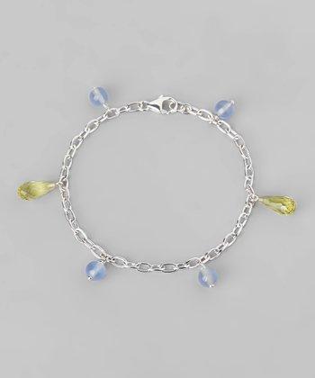 Lemon Quartz & Blue Chalcedony Teardrop Link Bracelet