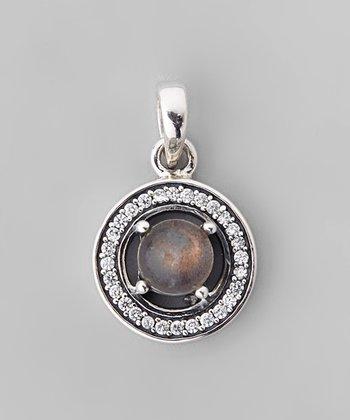 Labradorite & Sparkle Framed Round Pendant