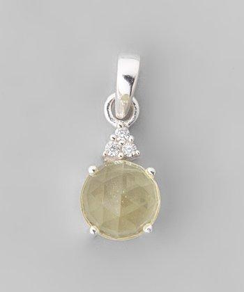 Lemon Quartz & Sparkle Circle Pendant