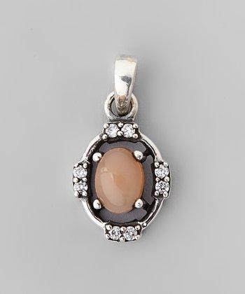 Peach Moonstone & Sparkle Cutout Frame Oval Pendant