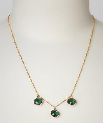 Green Quartz & Yellow Gold Triple Circle Necklace