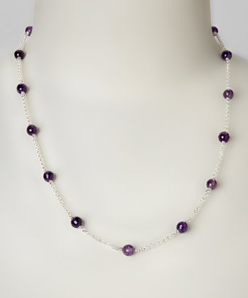 Amethyst & Sterling Silver Dot Necklace
