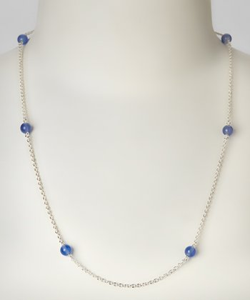 Blue Chalcedony & Sterling Silver Jeweled Necklace