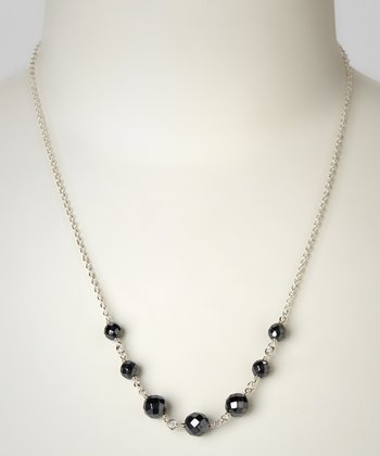 Gunmetal & Sterling Silver Bead Necklace