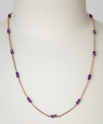 Amethyst & Rose Gold Double Jeweled Necklace