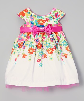 White & Pink Floral Cap-Sleeve Dress - Infant