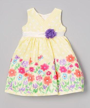 Light Yellow Floral Surplice Dress - Infant