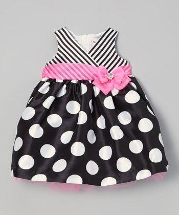 Black & Pink Polka Dot Surplice Dress - Infant