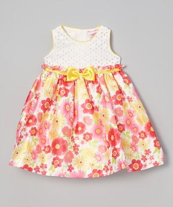 White & Gold Floral Dress - Infant, Toddler & Girls