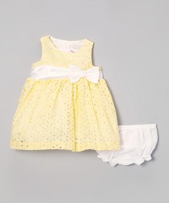 Light Yellow Eyelet Dress & Diaper Cover - Infant
