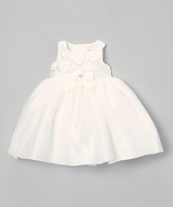 White Sequin Dot Dress - Infant