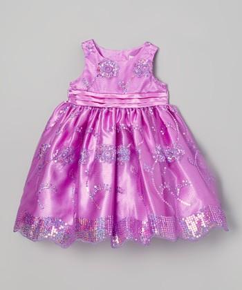 Purple Sequin Flower Dress - Infant & Toddler