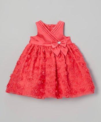 Dark Orange Rosette Surplice Dress - Infant & Toddler
