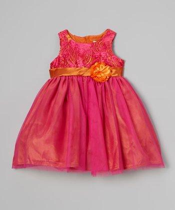 Dark Pink & Gold Flower Dress - Infant & Toddler