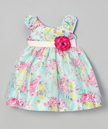 Green & Pink Rose Dress - Infant, Toddler & Girls