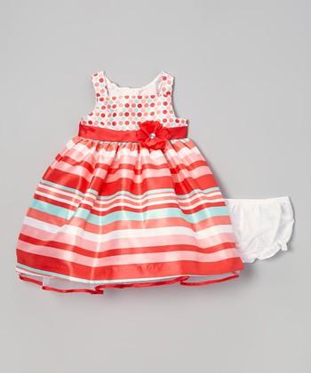 Dark Orange Stripe Dress - Infant