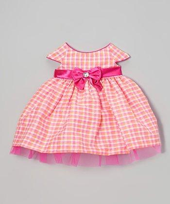 Dark Pink Gingham Cap-Sleeve Dress - Infant & Girls