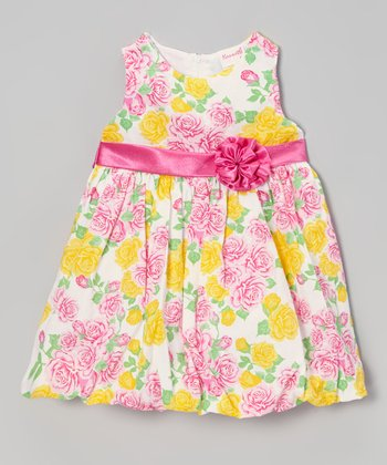 Pink & Yellow Floral Bubble Dress - Infant, Toddler & Girls