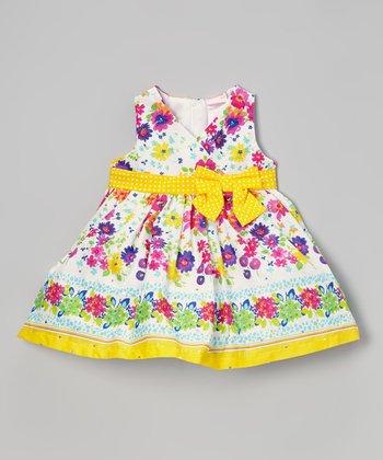 White & Yellow Floral Surplice Dress - Infant, Toddler & Girls