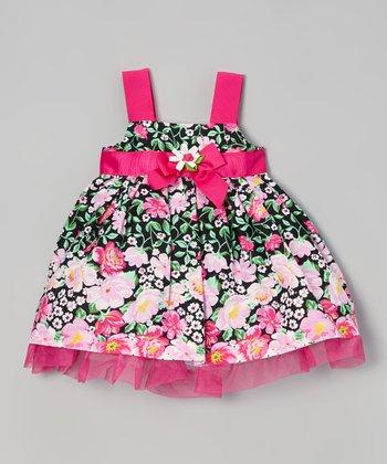 Dark Pink & Black Floral Dress - Infant & Toddler