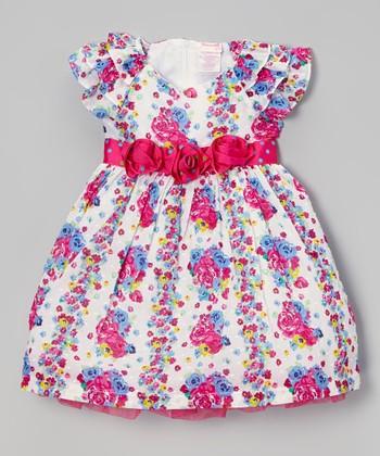 Dark Pink & Blue Floral A-Line Dress - Infant
