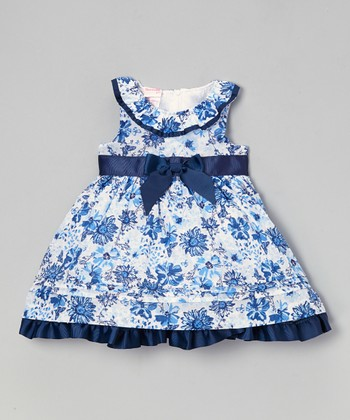Navy Floral Yoke Dress - Infant, Toddler & Girls