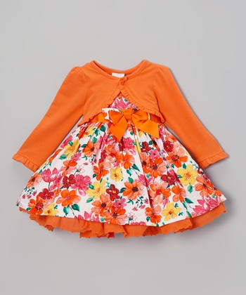 Orange Floral Dress & Ruffle Cardigan - Infant, Toddler & Girls