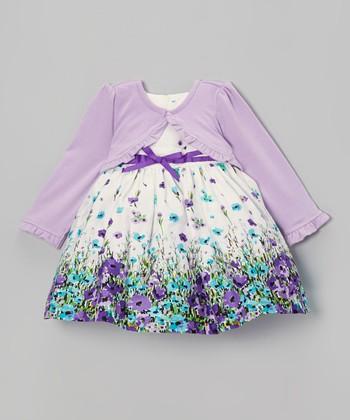 Beige Floral Dress & Purple Cardigan - Infant, Toddler & Girls