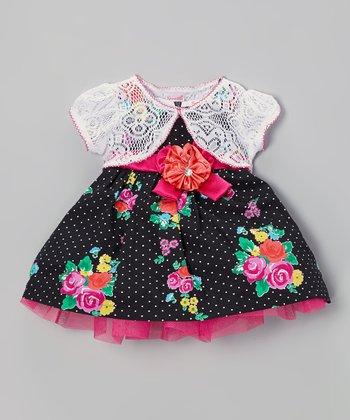 Black Polka Dot Dress & White Cardigan - Infant, Toddler & Girls