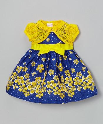 Navy Polka Dot Dress & Yellow Cardigan - Infant, Toddler & Girls