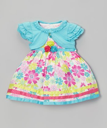Aqua & Pink Floral Dress & Cardigan - Girls