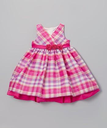 Pink Plaid Surplice Dress - Girls