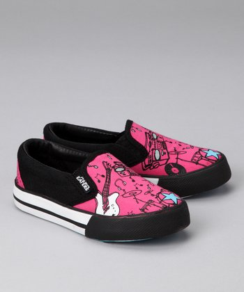 Pink & Black 'Wanna Rock' Slip-On Sneaker
