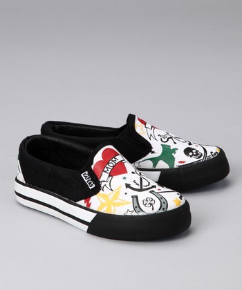Black & White Tattoo Slip-On Sneaker
