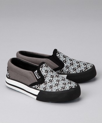 Gray Skull Chex Slip-On Sneaker