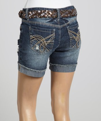 Wall Flower Super Dark Glitter Belt Shorts