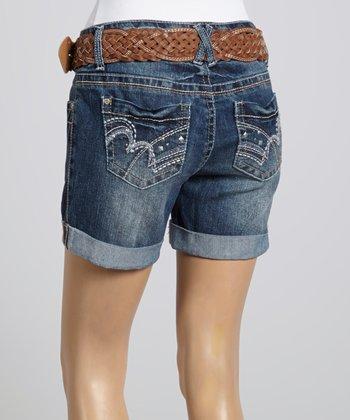 Wall Flower Blue Braided Belt Curvy Shorts