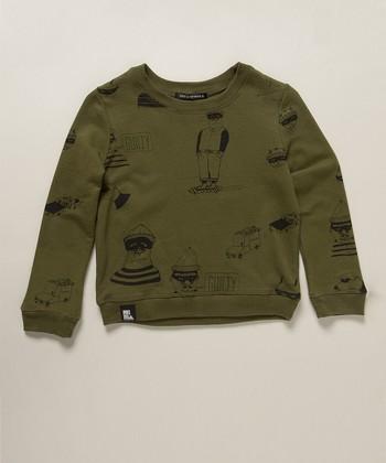 Army Green Bandit Sweater - Boys