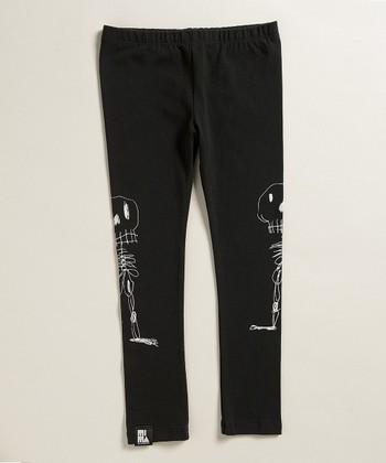 Black Skeleton Sketch Leggings - Boys
