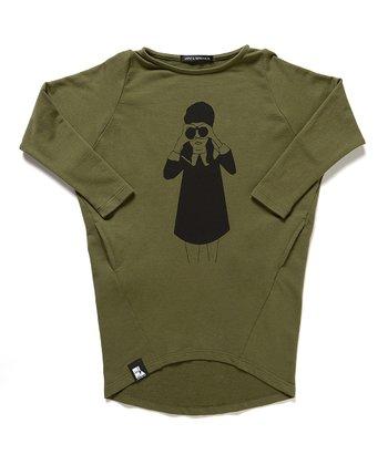 Army Green Binoculars Slub Tunic - Boys