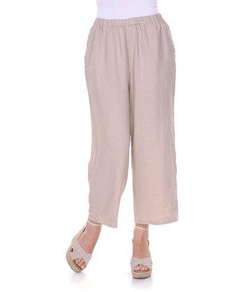 Beige Linen Capri Pants - Women