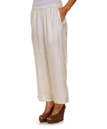 Cream Linen Capri Pants - Women & Plus