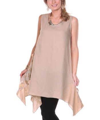 Beige Embroidered Petal Linen Tunic - Women & Plus