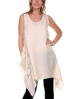 Cream Embroidered Petal Linen Tunic - Women