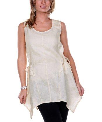 Cream Handkerchief Linen Tunic - Women & Plus