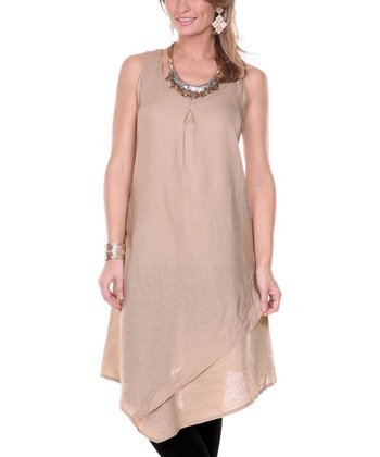 Beige Dual Layer Linen Dress - Women & Plus