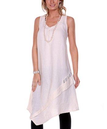 Cream Dual Layer Linen Dress - Women