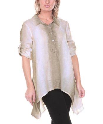 Mocha Ombre Stripe Linen Sidetail Tunic - Women & Plus