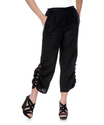 Black Button Capri Pants - Women & Plus