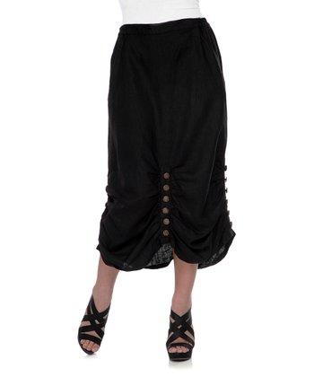 Black Belle Button Linen Skirt - Women & Plus